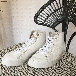 ADIDAS White Leather Cloudfoam Hi-Tops